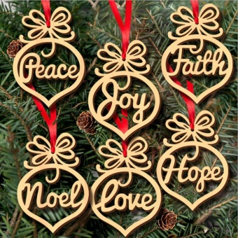 6pcs Wood Embellishments Rustic Christmas Tree Hanging OrnamentDecor - intl