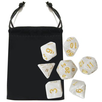 7 PCS Acrylic Polyhedral Number Game Dice Set 7 Style D4 D6 D8 2D10D12 D20 with Storage Pouch for Dungeons And Dragons Party Math GamePlaying - intl