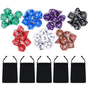 7 Set 49 PCS Acrylic Polyhedral Number Game Dice 7 Style D4 D6 D8 2D10 D12 D20 with Storage Pouches for Dungeons And Dragons Party Math Game Playing - intl