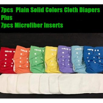 7pcs Set of Solid Plain Cloth Diaper