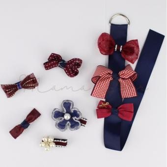 8pcs Mixed Lovely Red Blue Ribbon Kids Baby Hair Clip Set withRibbon Holder Organizer Hair Pin for Baby Girls Kids Price Philippines