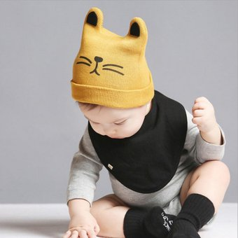 A Baby Infant Head Cap COTTON HAT Warm Hat Children Kitten and WoolHat Knitted Hat - 5