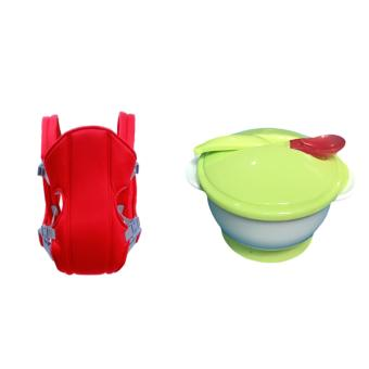 Adjustable Straps Baby Carriers (Red) With Baby Training SuctionCup Bowl Antiskid Double Ears Absorption Bowl With Cover and Spoon(Green)
