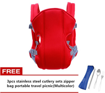 Adjustable Straps Baby Carriers (Red) with Free 3pcs stainless steel cutlery sets zipper bag portable travel picnic(Multicolor)