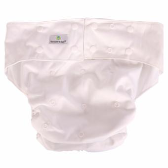Adult Diaper with Insert Included - Adult Cloth Diaper (NatureLove) with Anti-Bacterial, Anti-Fungal Insert- Ultra Absorbent andWashable Adult Cloth Diaper (White)