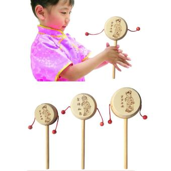 Allwin Baby Kids Child Wood Rattle Drum Instrument Child Musical Toy Chinese Styles - picture 2