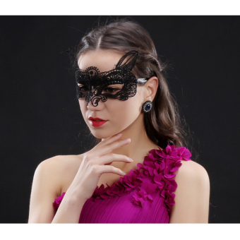 Andux Lace Eyes Mask Sexy for Masquerade Party Fancy Dress LSMJ-01Black(S-011) - intl