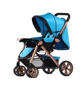 Angel Baby Two-way Four-wheel Folding Aluminum Alloy Baby Stroller(Blue)
