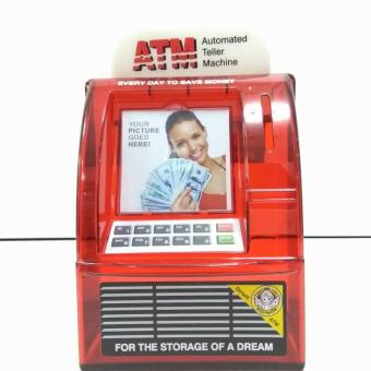ATM Money Coin Bank Saving Box Machine (Red)