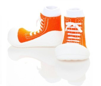 Attipas Baby Shoe Socks with Sneakers Design (Orange)