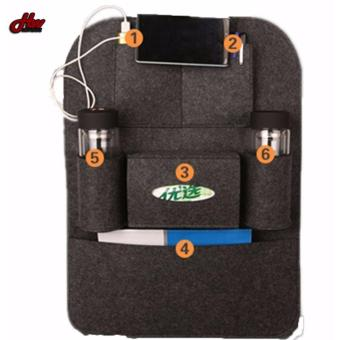Auto Car Back Seat Storage Bag Car Seat Cover Organizer HolderBottle Tissue Box Magazine Cup Food Phone Bag Backseat Organizer(Grey)