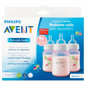 AVENT Classic+ 9 Ounce Bottles 3-Pack (Pink Turtles)