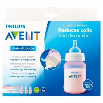 Avent Classic Plus Feeding Bottle 9oz/260ml Pack of 3 (Pink)