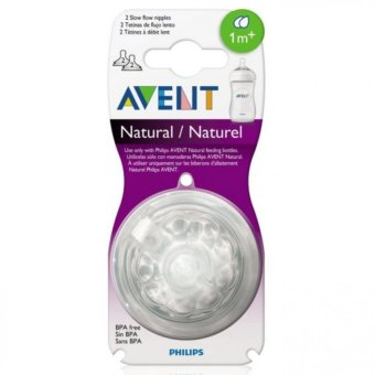 Avent Natural Feeding Bottle Slow Flow Nipple Pack of 2