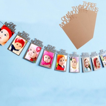Baby 1-12 Months Banner 1st Birthday Party Photo Frame ShowerBunting Banner Home Decor - intl