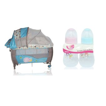 Baby 1st P-516PA Baby Crib (Blue) and with Baby Bottle 4oz 2-in1 Pack
