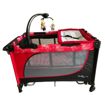 Baby 1st Playpen Crib (TOBBY.CO) with Accessories (Red/Black)
