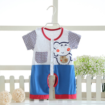 Baby bamboo fiber summer Men and Women Short sleeved romper baby coveralls
