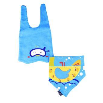 Baby Beanie with Bib Toddler Beanie Hat Soft Cotton Unisex BonnetFood Bib Costume Girls Boys (BLUE) - 3