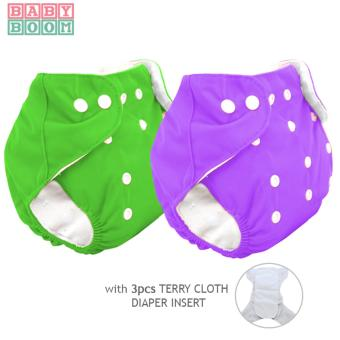 BABY BOOM Diaper Cloth Set of 2 with 3pcs TERRY CLOTH Inserts (Green/Purple)