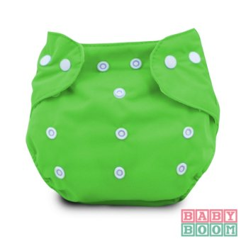 BABY BOOM Diaper Cloth Set of 2 with 3pcs TERRY CLOTH Inserts (Green/Purple) - 2