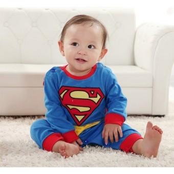 Baby Boy SuperHero Superman Costume Jumpsuit and Cape Blue - 3
