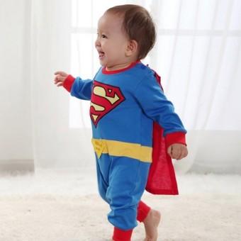 Baby Boy SuperHero Superman Costume Jumpsuit and Cape Blue - 2
