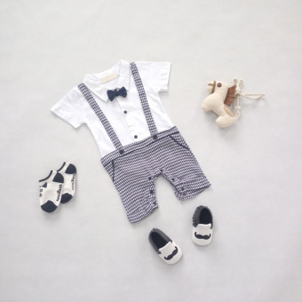 Baby Boys Gentleman Bow Collar Short Sleeve Classical Grid Infants Birthday Wearing Rompers Plaid - Intl