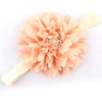 Baby Children Toddler Pearl Crystal Hair Hand Headband Headwear Fabric Rhinestone Soft Infant Flesh-Colored - Intl