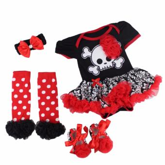 Baby Christmas Costume Set Children Halloween Costume Infant Bodysuit Princess Skull Tutu Dress Set Girls Floral Birthday Costume Cosplay Photography Outfit (RED)