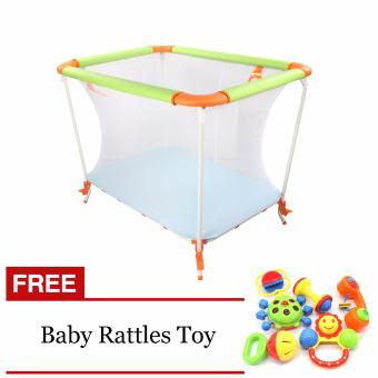 Baby Crib Space Saver (Green/Orange) with Free Baby Rattles Toy