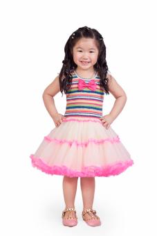 Baby Fashionista Stripey with Bow tutu Dress (Multicolor)