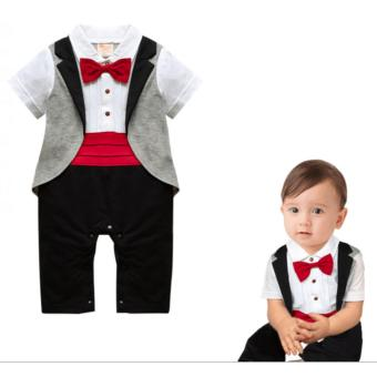 Baby Gentleman Tuxedo Formal Romper Red - 2