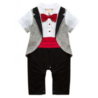 Baby Gentleman Tuxedo Formal Romper Red