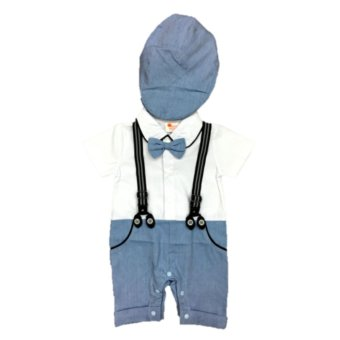 Baby Gentleman Tuxedo Formal Romper with Cap