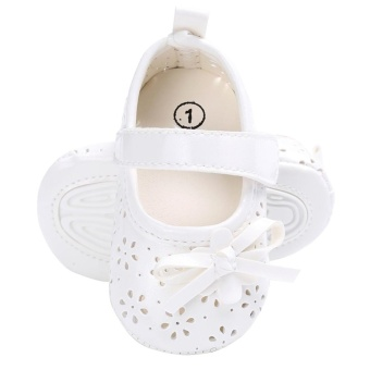 Baby Girl Flat Shoes PU Hollow Newborn Infant Girls AntiskidPrincess Shoes(White)-13CM - intl - 4