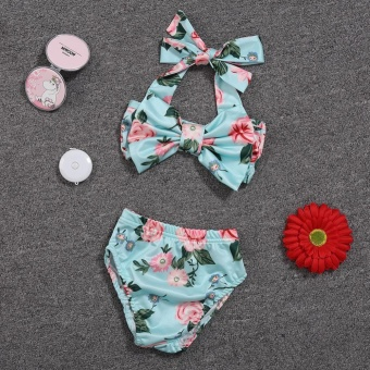 Baby Girl Floral Bow Halter Bikini Set Two Piece Swimsuit Size:3-6M - intl