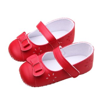 Baby Girl Princess Shoes Infant Bowknot PU Leather First WalkersToddlers Cute Soft Sole Shoes Red