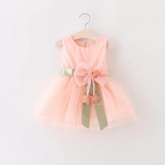 Baby Girls Dress Big Bowknot Infant Party Dress For Toddler GirlFirst Brithday Baptism Clothes Double Formal Tutu Dresses (Pink) -intl