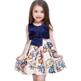Baby girls fashion summer Floral print dresses girls dresses Festaflower children princess dress