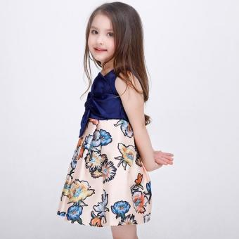 Baby girls fashion summer Floral print dresses girls dresses Festaflower children princess dress - 4