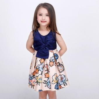 Baby girls fashion summer Floral print dresses girls dresses Festaflower children princess dress - 3