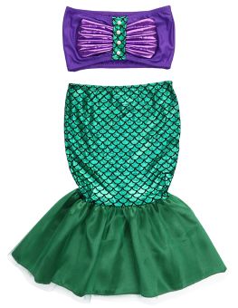 Baby Girls Little Mermaid Costume Dress Swimwear Swimsuit Set - intl