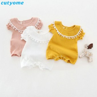 Baby Girls Rompers Short Sleeve Princess Jumpsuits For InfantToddler Girl Clothes Ruffle Collar Newborn Overall - intl