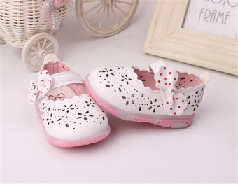 Baby girls Sandals Toddler First Walker Shoes PU Leather Soft-soled Heelpiece Flashing light ( white) - Intl - 3