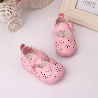 Baby girls Sandals Toddler First Walker Shoes PU Leather Soft-soledHeelpiece Flashing light ( pink) - Intl - 3