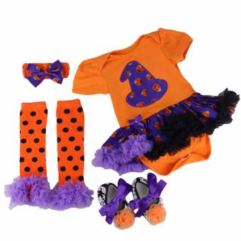 Baby Halloween Costume Set Children Halloween Witch Pumpkin Costume Infant Bodysuit Tutu Dress Set Girls Birthday Costume Cosplay Photography Outfit