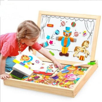 Baby Kids Education Toy Wooden Animal Magnetism Easel DoodleDrawing Board Jigsaw Blackboard Toy for Children - intl
