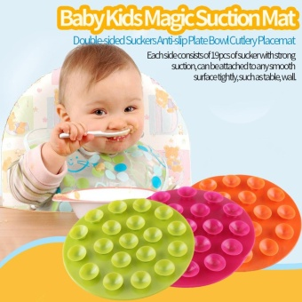 Baby Kids Magic Suction Mat Double-sided Suckers Anti-slip BowlCutlery Placemat(Rose Red) - intl Price Philippines