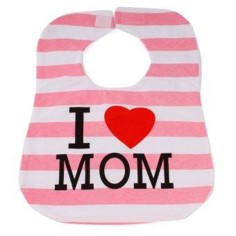 Baby Lab Cotton Bib with I Love Mom Print (Multicolor)